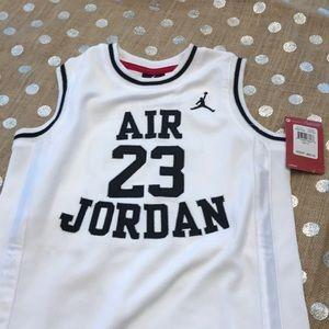 Nike JumpMan 23 Boys Jersey NWT White/Black